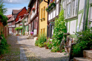 Old Houses Framed Prints - German old village Quedlinburg Framed Print by Heiko Koehrer-Wagner