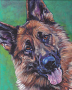 German Art Paintings - German Shepherd by Lee Ann Shepard