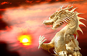 2012 Digital Art - Giant golden Chinese dragon by Anek Suwannaphoom