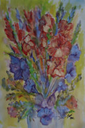 Gladiolas Mixed Media Posters - Gilded Flowers Poster by Charme Curtin