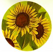 Sunflowers Glass Art - Girasoles by Justyna Pastuszka