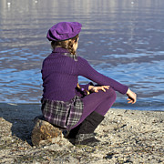 Braids Photo Prints - Girl At A Lake Print by Joana Kruse