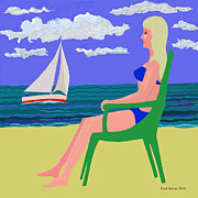 Surf Art Digital Art Posters - Girl at Beach Poster by Fred Jinkins