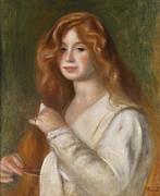 Red Hair Art - Girl Combing her Hair by Pierre Auguste Renoir