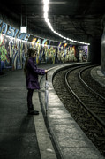 Graffiti Posters - Girl In Station Poster by Joana Kruse