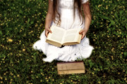 Girl Metal Prints - Girl Is Reading A Book Metal Print by Joana Kruse