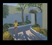 Greek Island Prints - Girl Skipping Print by Andrew Macara