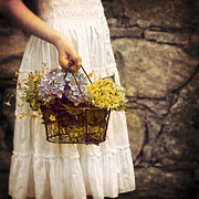 Basket Prints - Girl With Flowers Print by Joana Kruse