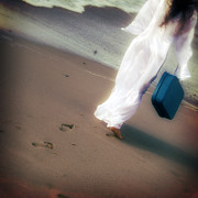 Footprints Photo Prints - Girl With Suitcase Print by Joana Kruse