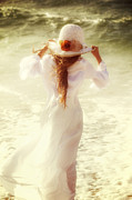 North Sea Photo Prints - Girl With Sun Hat Print by Joana Kruse