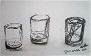 Glass Drawings - Glass Candles by Jana Barros