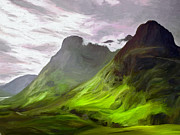 Surroundings Digital Art Posters - Glen Coe Poster by James Shepherd