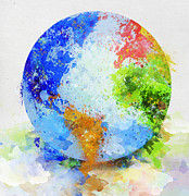 Dirty Digital Art Prints - Globe Painting Print by Setsiri Silapasuwanchai