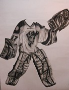 Hockey Goalie Paintings - Goalie Equipment by Aly Stewart