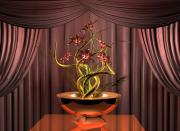 Digital_art Posters - Gold twist red flower Poster by Louis Ferreira