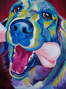Smiling Painting Posters - Golden - My Favorite Bone Poster by Alicia VanNoy Call