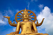 Wat Metal Prints - Golden Buddha Metal Print by Adrian Evans
