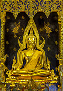 Statue Portrait Metal Prints - Golden buddha  Metal Print by Anek Suwannaphoom