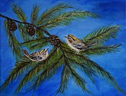 Pine Cones Paintings - Golden Crowned Kinglets by Leslie Allen