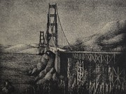 Bay Bridge Mixed Media Metal Prints - Golden Gate Bridge Metal Print by Robert Plog