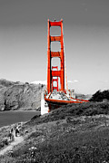 Black-and-white Framed Prints - Golden Gate Framed Print by Greg Fortier