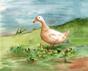 Geese Paintings - Golden Goose by Brenda Thour