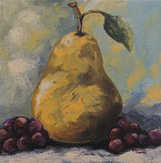 Golden Pear With Grapes Print by Torrie Smiley