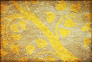 Abstract Digital Art Posters - Golden Tree Pattern On Paper Poster by Setsiri Silapasuwanchai