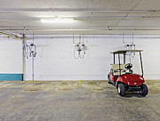 Basement Photo Posters - Golf Cart Parking Garage Poster by Skip Nall
