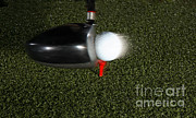 Energy Balls Prints - Golf Club Hitting Ball Print by Ted Kinsman