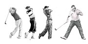 Tiger Woods Drawings - Golfers by Murphy Elliott