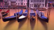 Gondola Ride Prints - Gondolas On The Grand Canal Venice Italy Print by Carson Ganci