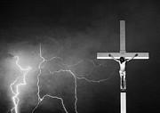 Monsoon Posters - Good Friday - Crucifixion of Jesus BW Poster by James Bo Insogna