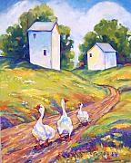 White Barns Prints - Goose Walk Print by Peggy Wilson