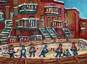 Montreal Winter Scenes Prints - Gorgeous Day For A Game Print by Carole Spandau