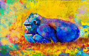 Animals Tapestries Textiles - Gorilla Gorilla by Betty LaRue