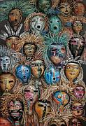 Collection Pastels Framed Prints - Gourd Masks Framed Print by Sam Pearson