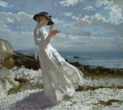 White Dress Painting Prints - Grace reading at Howth Bay Print by Sir William Orpen