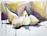 Snack Drawings Prints - Graceful Pears Print by Mindy Newman