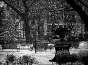 Graphite Pencil Posters - Gramercy Park Poster by Jerry Winick