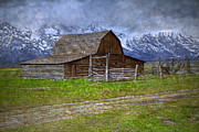 Pioneer Scene Photo Posters - Grand Teton Iconic Mormon Barn Fence Spring Storm Clouds Poster by John Stephens