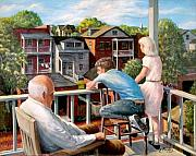 Cityscenes Painting Framed Prints - Grandpas Back Porch Framed Print by Edward Farber