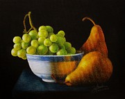 Pencil On Canvas Metal Prints - Grapears Metal Print by Bleuie  Acosta