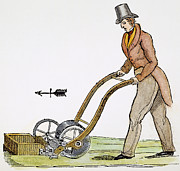 Mower Prints - Grass Mowing Machine, 1830 Print by Granger