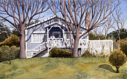 Stairs Painting Posters - Gray House with Trees Poster by Deborah Irish