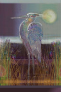 Sound Pastels Posters - Great Blue Heron Poster by Lydia L Kramer