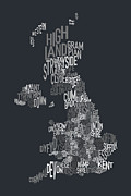 Shape Digital Art Posters - Great Britain County Text Map Poster by Michael Tompsett