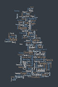 Wales Digital Art Metal Prints - Great Britain UK City Text Map Metal Print by Michael Tompsett