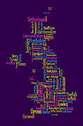 Great Britain Map Posters - Great Britain UK County Text Map Poster by Michael Tompsett
