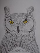Pray Drawings Framed Prints - Great Horned Owl Framed Print by Gerald Strine